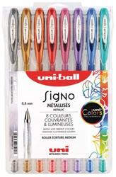 Gelschrijver Uni-ball Signo metallic assorti 0,5mm etui 8st