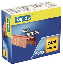 Nieten Rapid 24/6 Redstripe kopercoating 2000 stuks