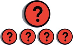 Magneet vraagteken 35mm rood