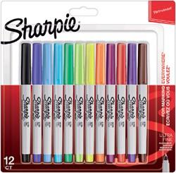 Viltstift Sharpie rond 0.5mm blister à 12 stuks fun assorti