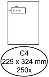 Envelop Hermes C4 229x324mm venster 4x11links zelfkl 250stuk