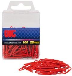 Paperclip Oic 28mm rond 100stuks rood gelamineerd