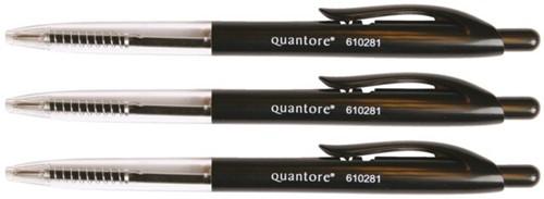 Balpen Quantore drukknop zwart medium