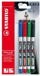 Cd marker Stabilo Write-4-All 156 blister à 4 stuks assorti fijn